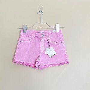 NWT Zara girls crochet trim Denim Shorts Purple